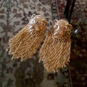 ASOS Jewelry - ASOS Gold Tone Lion Tassle Statement Earrings